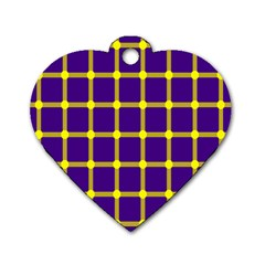 Optical Illusions Circle Line Yellow Blue Dog Tag Heart (one Side)