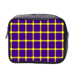 Optical Illusions Circle Line Yellow Blue Mini Toiletries Bag 2 Side by Alisyart