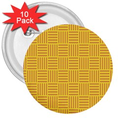 Plaid Line Orange Yellow 3  Buttons (10 Pack)  by Alisyart