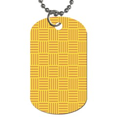 Plaid Line Orange Yellow Dog Tag (one Side)