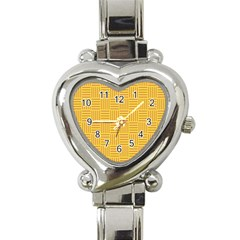 Plaid Line Orange Yellow Heart Italian Charm Watch by Alisyart