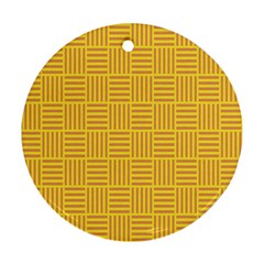 Plaid Line Orange Yellow Round Ornament (two Sides) by Alisyart