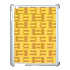 Plaid Line Orange Yellow Apple Ipad 3/4 Case (white) by Alisyart