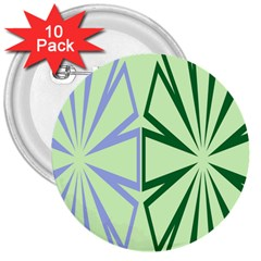 Starburst Shapes Large Green Purple 3  Buttons (10 Pack)