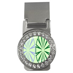 Starburst Shapes Large Green Purple Money Clips (cz)