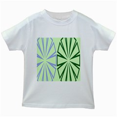 Starburst Shapes Large Green Purple Kids White T Shirts