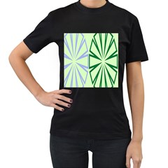 Starburst Shapes Large Green Purple Women s T Shirt (black) (two Sided) by Alisyart