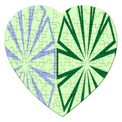 Starburst Shapes Large Green Purple Jigsaw Puzzle (heart) by Alisyart