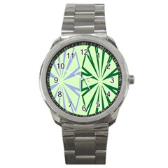 Starburst Shapes Large Green Purple Sport Metal Watch
