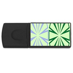 Starburst Shapes Large Green Purple Usb Flash Drive Rectangular (4 Gb) by Alisyart