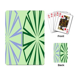 Starburst Shapes Large Green Purple Playing Card