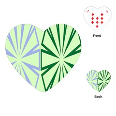Starburst Shapes Large Green Purple Playing Cards (heart)  by Alisyart