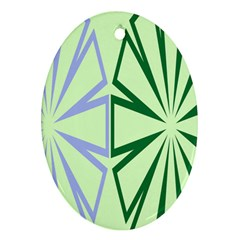 Starburst Shapes Large Green Purple Oval Ornament (two Sides)