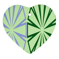 Starburst Shapes Large Green Purple Heart Ornament (two Sides) by Alisyart