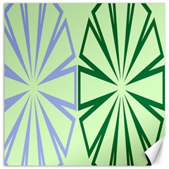Starburst Shapes Large Green Purple Canvas 12  X 12
