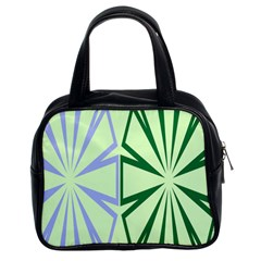 Starburst Shapes Large Green Purple Classic Handbags (2 Sides) by Alisyart