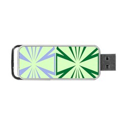Starburst Shapes Large Green Purple Portable Usb Flash (one Side) by Alisyart