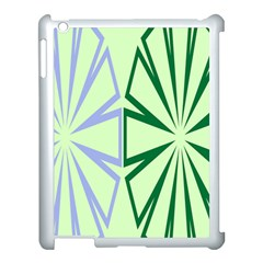 Starburst Shapes Large Green Purple Apple Ipad 3/4 Case (white)