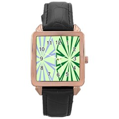 Starburst Shapes Large Green Purple Rose Gold Leather Watch  by Alisyart