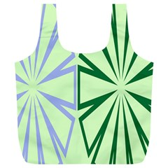 Starburst Shapes Large Green Purple Full Print Recycle Bags (l)  by Alisyart