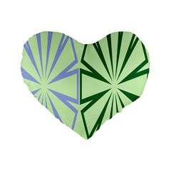 Starburst Shapes Large Green Purple Standard 16  Premium Flano Heart Shape Cushions by Alisyart