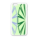 Starburst Shapes Large Green Purple Apple iPhone 6/6S White Enamel Case Front