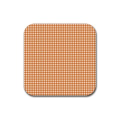 Orange Tablecloth Plaid Line Rubber Square Coaster (4 Pack)