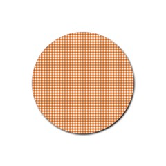 Orange Tablecloth Plaid Line Rubber Round Coaster (4 Pack)  by Alisyart