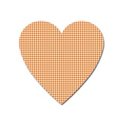 Orange Tablecloth Plaid Line Heart Magnet by Alisyart