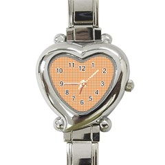 Orange Tablecloth Plaid Line Heart Italian Charm Watch
