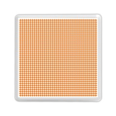 Orange Tablecloth Plaid Line Memory Card Reader (square)