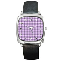Purple Tablecloth Plaid Line Square Metal Watch by Alisyart