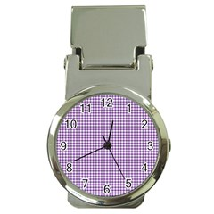 Purple Tablecloth Plaid Line Money Clip Watches