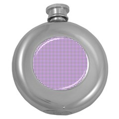 Purple Tablecloth Plaid Line Round Hip Flask (5 Oz) by Alisyart