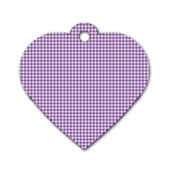 Purple Tablecloth Plaid Line Dog Tag Heart (one Side) by Alisyart