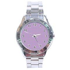 Purple Tablecloth Plaid Line Stainless Steel Analogue Watch by Alisyart