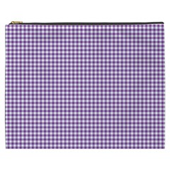Purple Tablecloth Plaid Line Cosmetic Bag (xxxl)