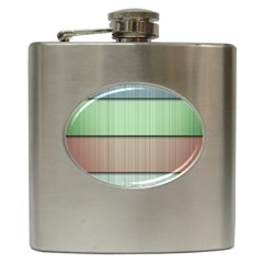 Modern Texture Blue Green Red Grey Chevron Wave Line Hip Flask (6 Oz)