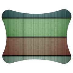 Modern Texture Blue Green Red Grey Chevron Wave Line Jigsaw Puzzle Photo Stand (bow) by Alisyart