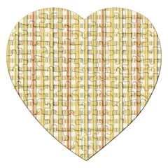 Tomboy Line Yellow Red Jigsaw Puzzle (heart) by Alisyart