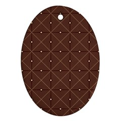 Coloured Line Squares Plaid Triangle Brown Line Chevron Oval Ornament (two Sides)