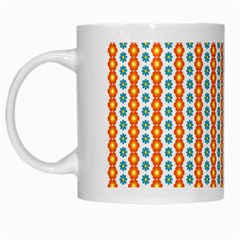 Sunflower Orange Gold Blue Floral White Mugs by Alisyart