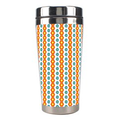 Sunflower Orange Gold Blue Floral Stainless Steel Travel Tumblers by Alisyart