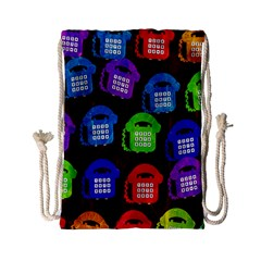Grunge Telephone Background Pattern Drawstring Bag (small) by Amaryn4rt