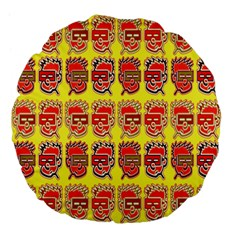 Funny Faces Large 18  Premium Flano Round Cushions by Amaryn4rt