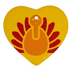 Animals Bird Pet Turkey Red Orange Yellow Heart Ornament (two Sides)