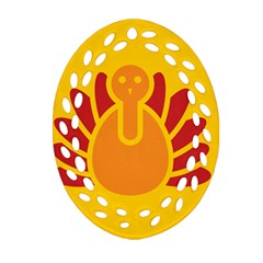 Animals Bird Pet Turkey Red Orange Yellow Oval Filigree Ornament (two Sides) by Alisyart