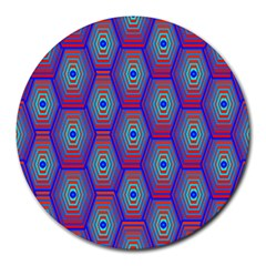 Red Blue Bee Hive Pattern Round Mousepads by Amaryn4rt