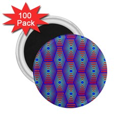 Red Blue Bee Hive Pattern 2 25  Magnets (100 Pack)  by Amaryn4rt