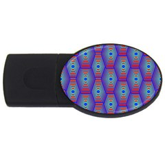 Red Blue Bee Hive Pattern Usb Flash Drive Oval (2 Gb) by Amaryn4rt